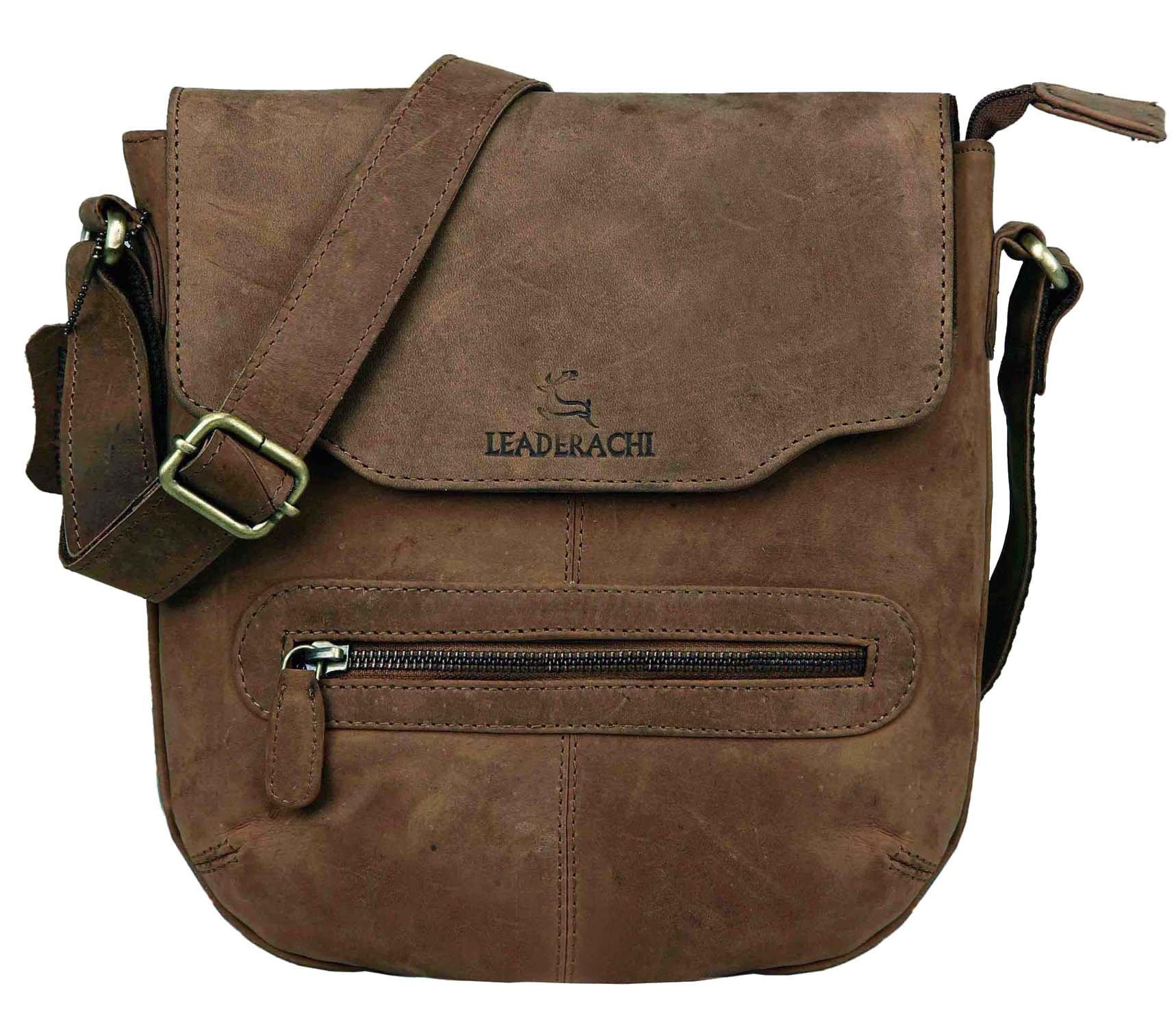 LEADERACHI Hunter Leather Messenger Bag [Sassari-Muskat] product image
