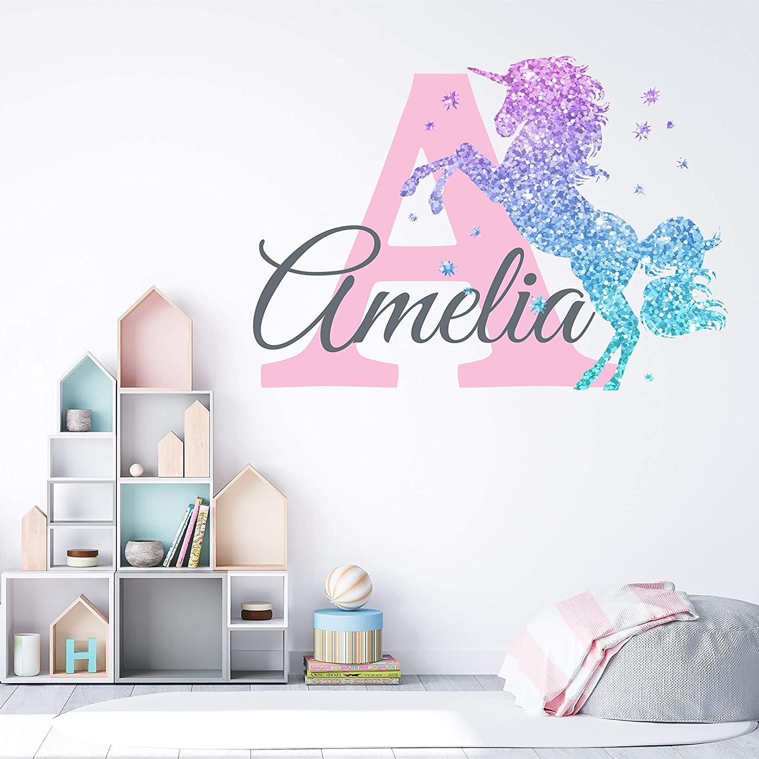 Girls Nursery Glitter Shimmer Sparkle Printed Unicorn Name and Initial Personalized Custom Name Vinyl Wall Decal, Wall Decor Sticker (Medium)