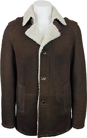 large discount best place discount sale UNICORN Hommes peau de mouton Reefer Veste Brun en cuir ...