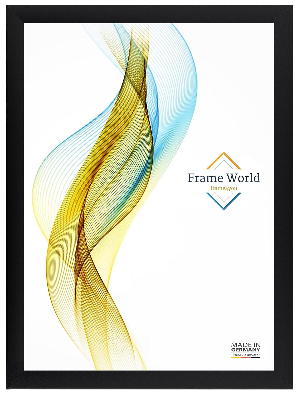 Frame World FW35 Bilderrahmen Bilderrahmen Bilderrahmen für 70 cm x 105 cm Bilder, Farbe  Schwarz-Matt, MDF-Holz Rahmen mit entspiegeltem Acrylglas und HDF Rückwand, Rahmen Breite  35mm, Aussenmaß  75,6 cm x 110,6 cm d8502a
