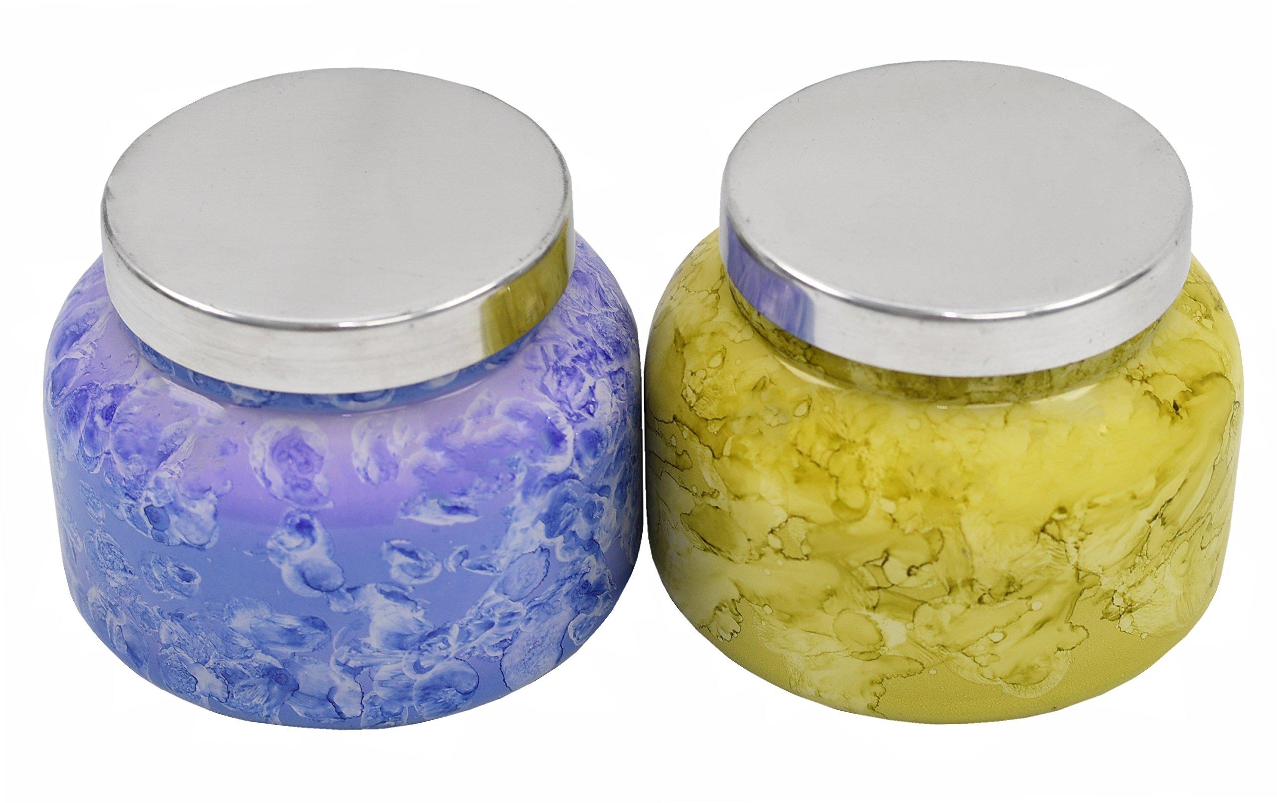 Capri Blue 19 oz. Aloha Orchid & Blue Jean Watercolor Collection Jar Candle.