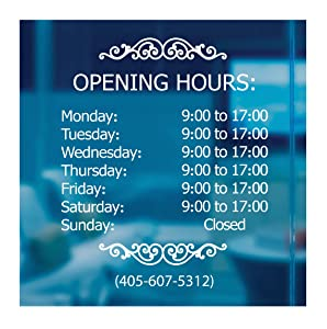 LokaUS Professional Business Hours Sign Kit, 20x20 Inches Changeable Signs for Business, Customize Window Sign for Business, Outside Retail Hours of Operation Sign, Store Hours Sign (Hours Sign)