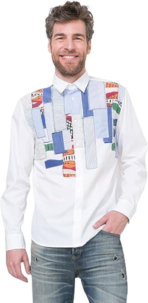 Desigual - Camisa casual - para hombre blanco small: Amazon ...