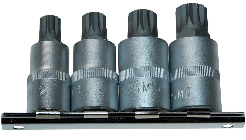 4 x VIELZAHN-Eins/ätze M12 M14 M16 M17 Schraubenschl/üssel Bit//Bits/ätze Einsatz//Steckschl/üssel-Eins/ätze 12-KANT//Zw/ölfkant XZN 1//2 Antrieb 12.5mm