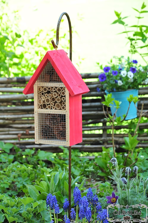 Gro/ße Insektenhotels HD-MMS rot lasiert Vogelh/äuschen Nistkasten Insektenhotel aus Holz Insektenh/äuschen biologischer /ökologischer nat/ürlicher Pflanzenschutz /ökologische biologische nat/ürliche Blattlausbek/ämpfun