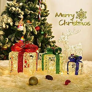 Set of 3 Christmas Lighted Gift Boxes, 60-LED Light-Up Gift Boxes Indoor Outdoor Christmas Tree Party Decor (Warm White)