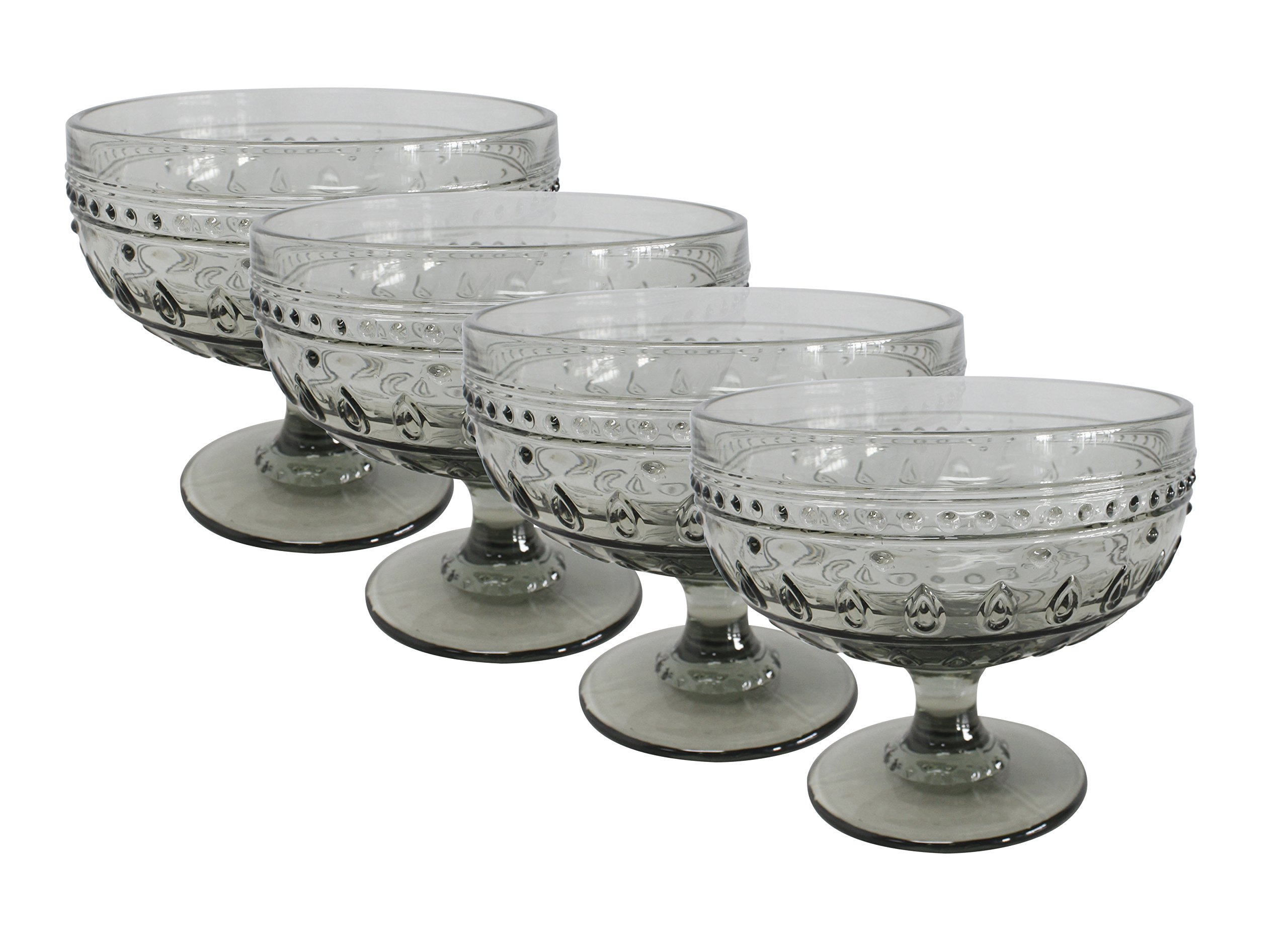 Euro Ceramica Fez Glassware Collection Footed Compote/Dessert Bowl Glasses, 13oz, Set of 4, Gray