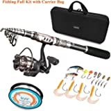 PLUSINNO Spinning Rod and Reel Combos FULL KIT Telescopic Fishing Rod Pole with Reel Line Lures Hooks Fishing Carrier Bag Case and Accessories Fishing Gear Organizer