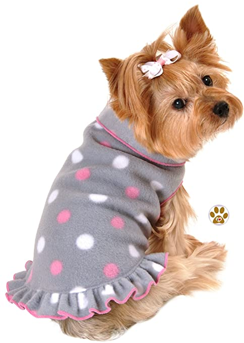 4fb4094c232 Classic Pink Gray Dots Polka Dot Fleece Pullover Dress Sweater with Pin -  in Dog