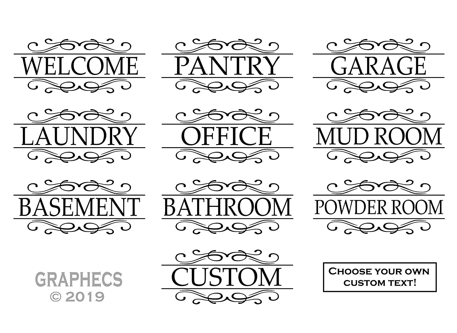 Custom Door Decal Labels - Pantry Laundry Welcome Office Personalized Sticker Glass Door Luxurious Decor
