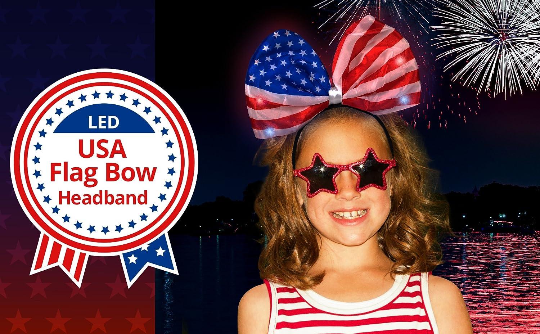 b2315aaee0e Amazon.com  LED USA Flag Headband Bow 4th of July Patriotic  Health    Personal Care