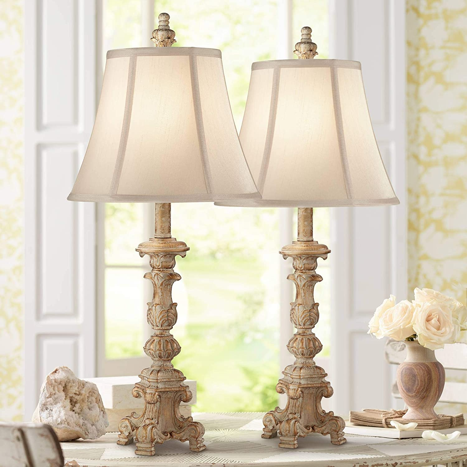 Elize Shabby Chic Table Lamps Set Of 2 With Table Top Dimmers White Washed Candlestick Bell Shade Decor For Living Room Bedroom House Bedside Nightstand Home Office Family Regency Hill