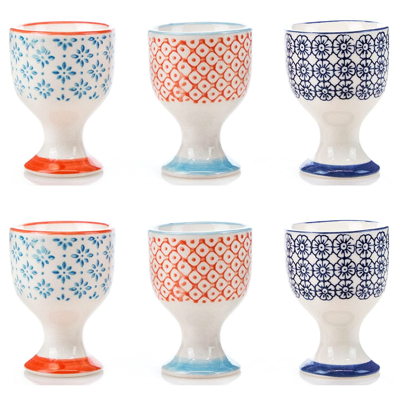 Nicola Spring Porcelain Printed Breakfast Egg Cups Multipack - 54x73mm - Set of 6