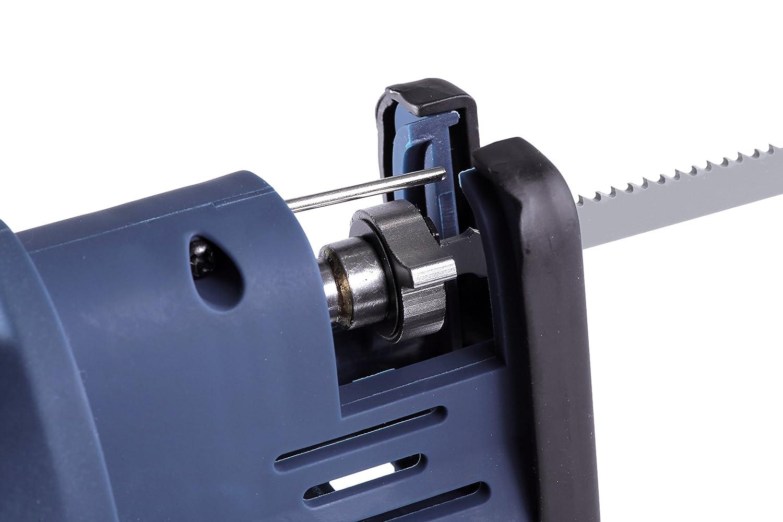 1.5Ah 12V Ladeger/ät in einem robuster Aufbewahrungskoffer Inkl FERM Li-Ion Akku-Stichs/äge 2 S/ägebl/ätter f/ür Metall und Holz