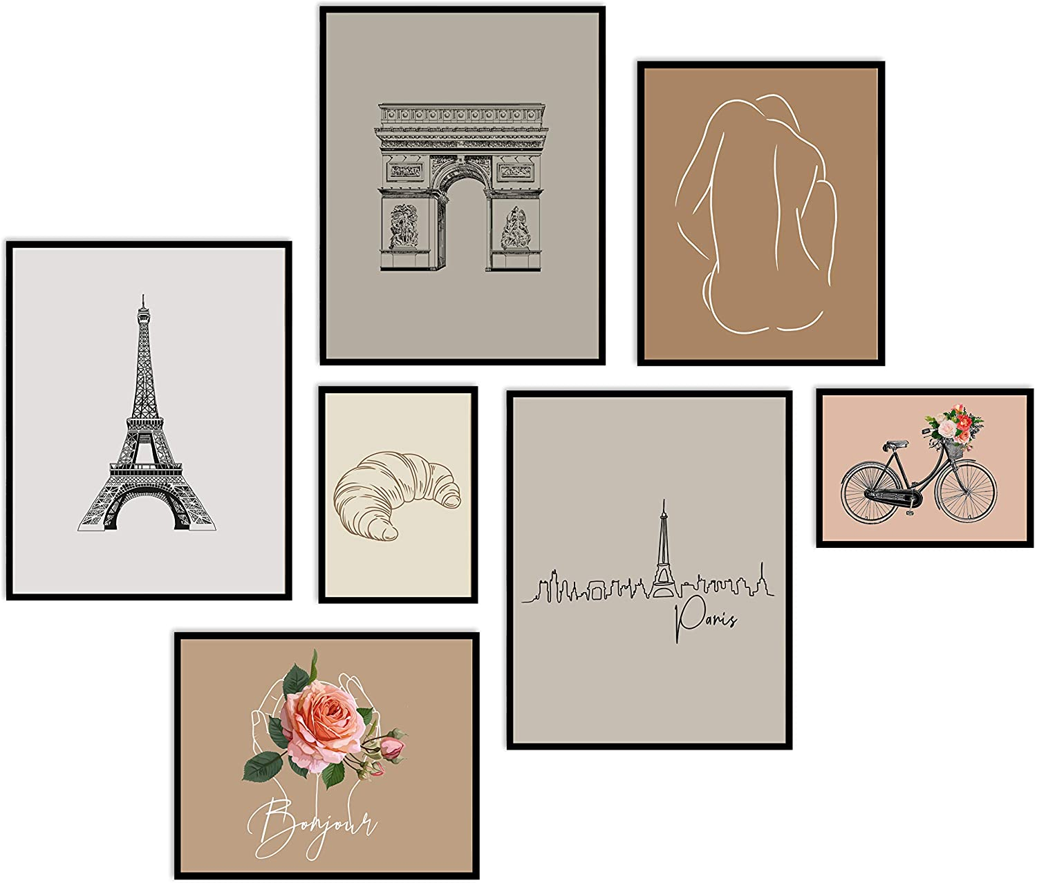 Printsmo Paris Neutral Tones Wall Collage Set of 7, Parisian Abstract Line Drawing Art Prints, Modern Abstract and Minimalist Art Prints for Home Decor, Boho Style Wall Art Poster Set, Unframed