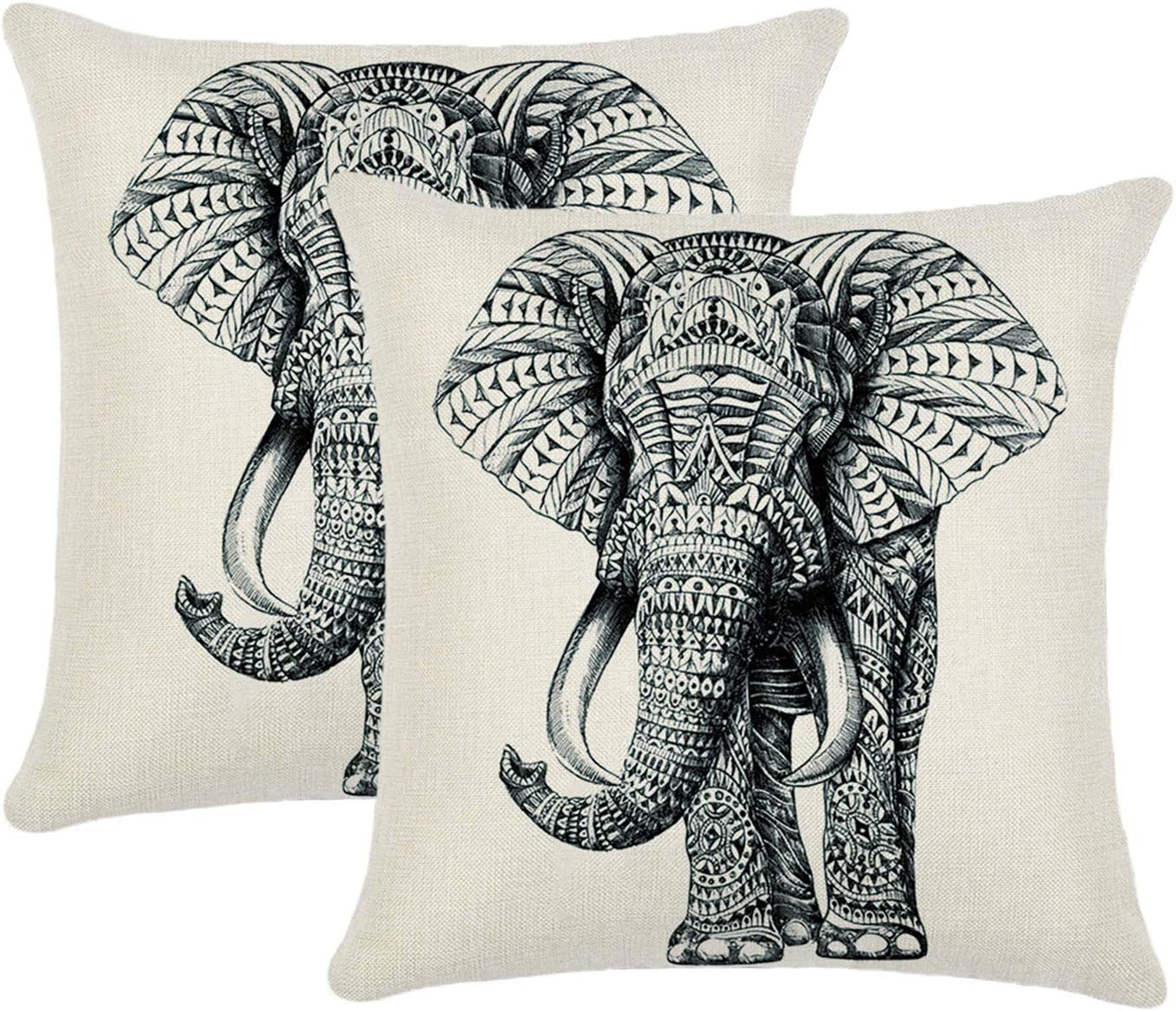 Amazon Com Jahosin Set Of 2 Throw Pillow Covers 18 X 18 Inches Decorative Elephant Cushion Case Sketch Elephant Home Kitchen