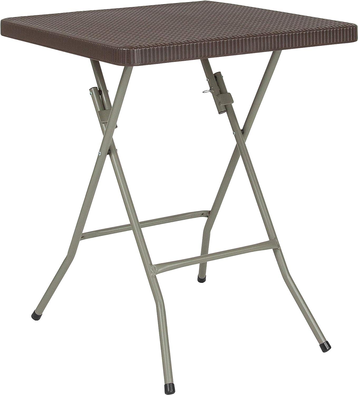 Flash Furniture 1.95-Foot Square Brown Rattan Plastic Folding Table