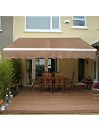 SUPER DEAL Manual Retractable Patio Deck Awning Sunshade Shelter Rain Outdoor Canopy Balcony Decorative