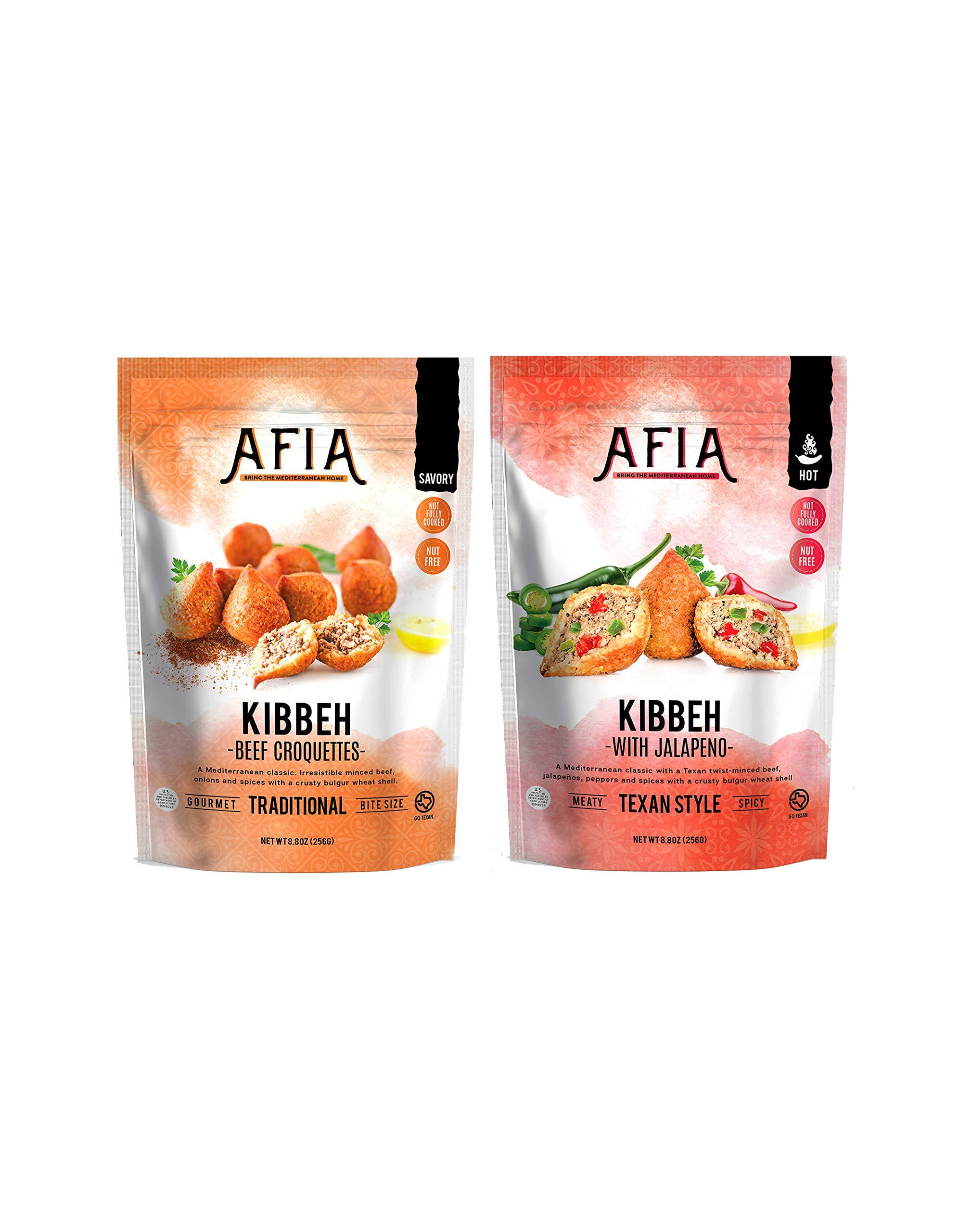 Frozen Original Kibbeh & Spicy Jalapeno Kibbeh Bundle - Pack of (10) bags - (approx 80 count) - Just Heat & Eat!