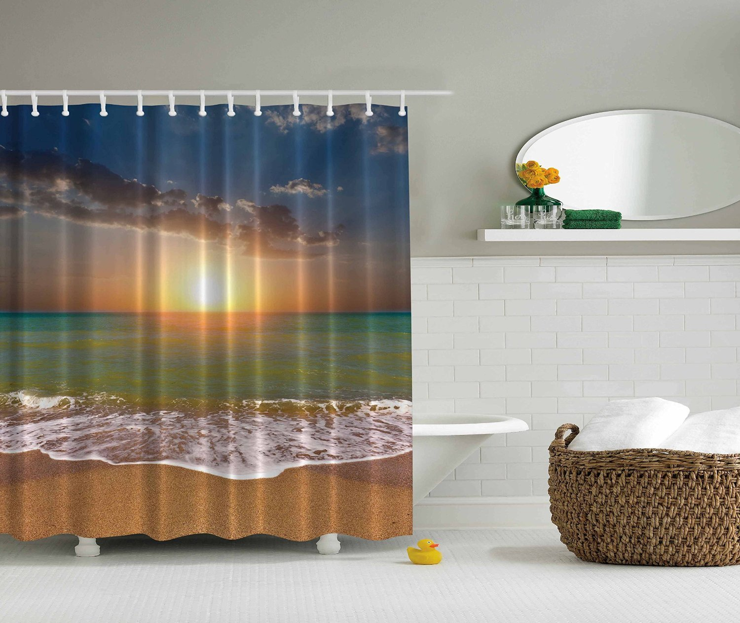 Amazon Designers Collection Digital Graphic Print Ocean Sunset Shower Curtain Set Non Vinyl Bath Waterproof Fabric Resistant Includes Hooks2939 Home