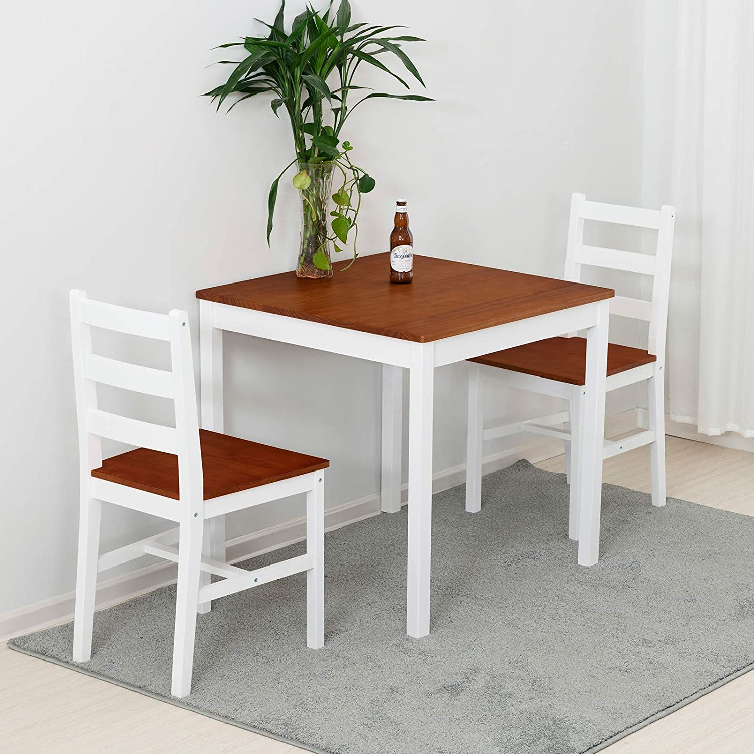 Mecor 3 Pc Dining Set Wood Kitchen Table Set With 2 Chairs Natural