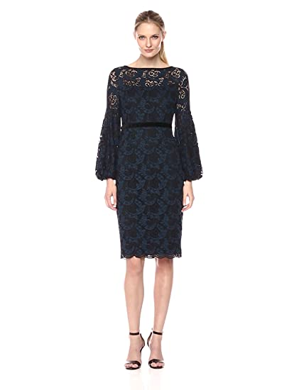 f298546c Maggy London Women's Plum Swirl Lace Novelty Sheath with Bishop Sleeve  Detail, Blue/Black, 2 at Amazon Women's Clothing store: