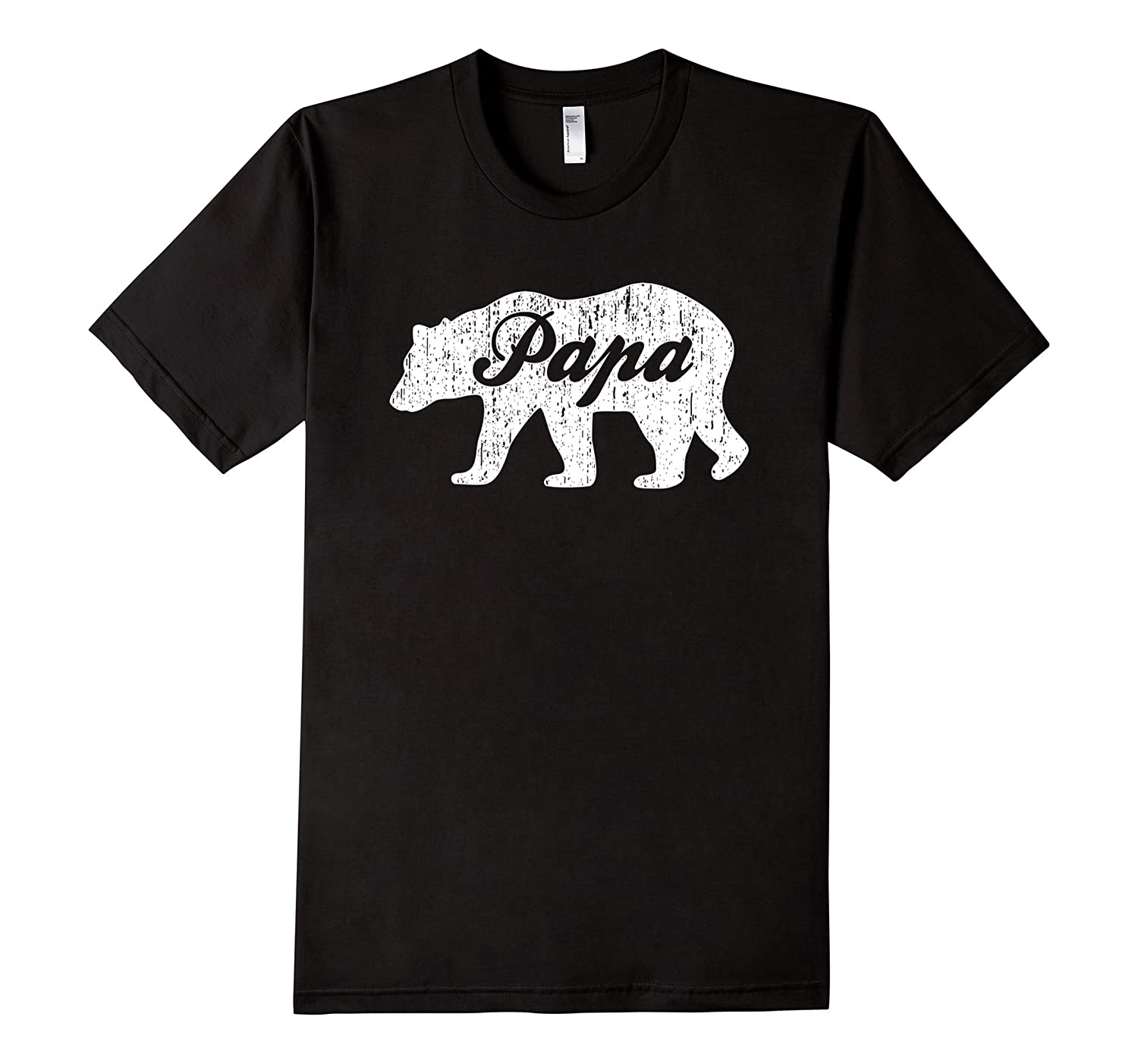 Bear With Word Papa Distressed T-Shirt-TH