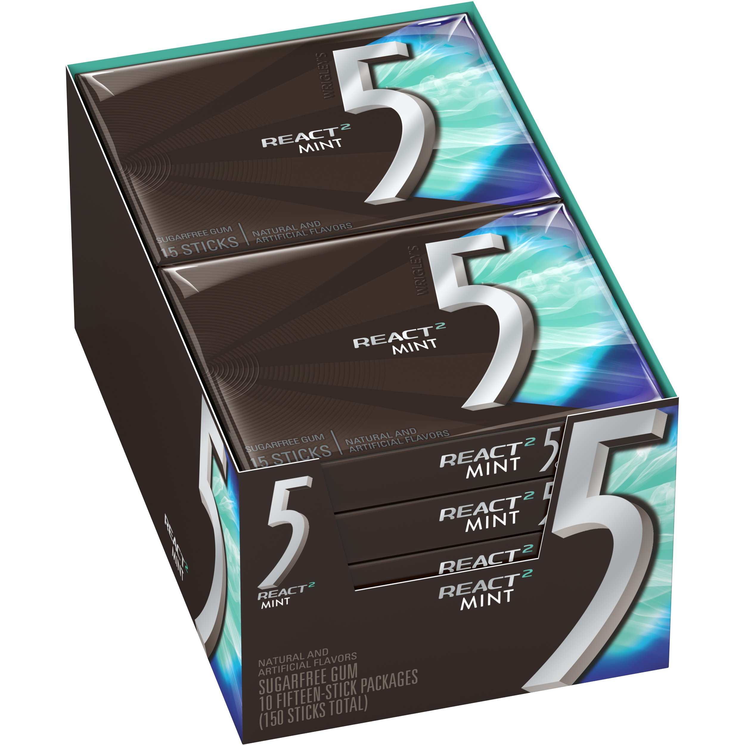 5 Gum React Mint Sugarfree Gum, 10 Packs (150 Pieces Total) by 5 Gum