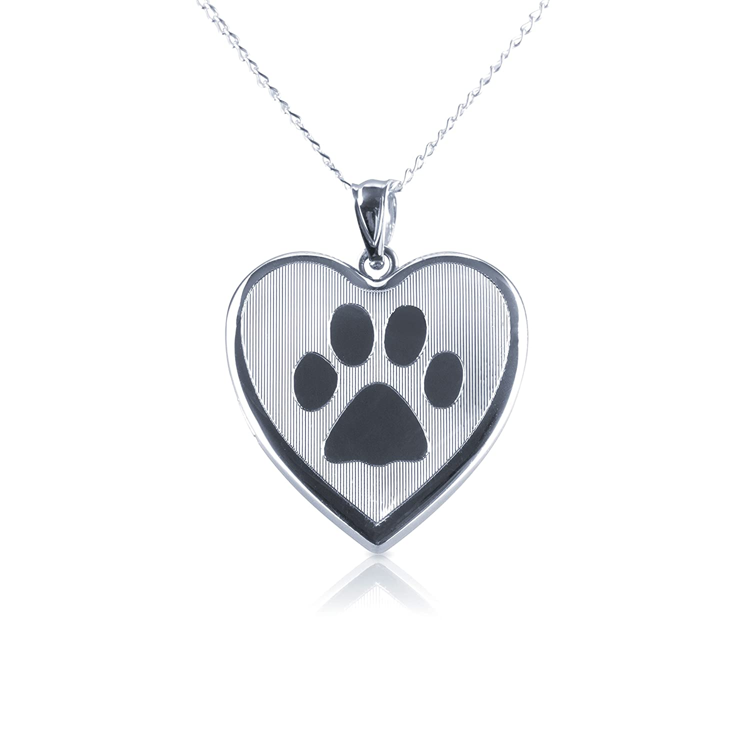 Dog Paw Heart Shape Photo Locket Pendant, Sterling Silver with Necklace Chain by Silver on the Rocks ES Assets UK_B07DFNZ91C