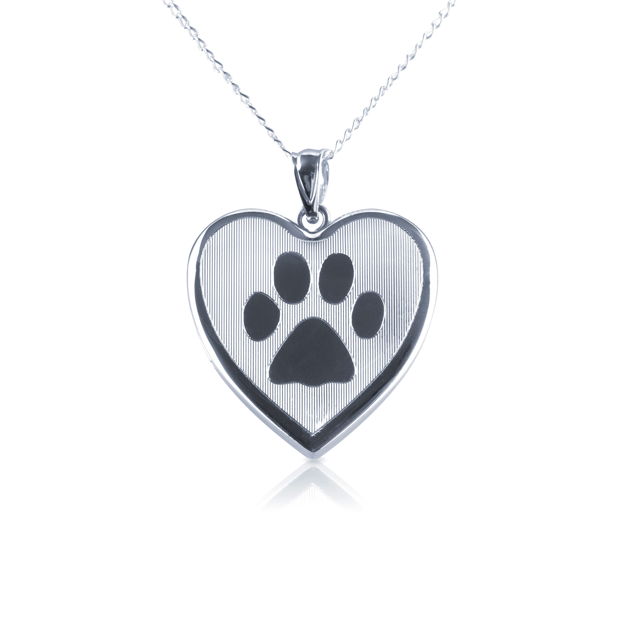 Dog Paw Heart Shape Photo Locket Pendant, Sterling Silver with Necklace Chain by Silver on the Rocks