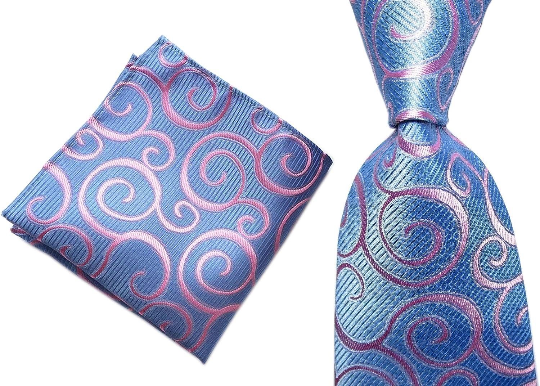 USA New Floral Pint Mens Tie Set Green Pink Blue Silk Necktie Jacquard Set Woven