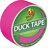 Duck Brand 1265016 Color Duct Tape, Neon Pink, 1.88 Inches x 15 Yards, Single Roll