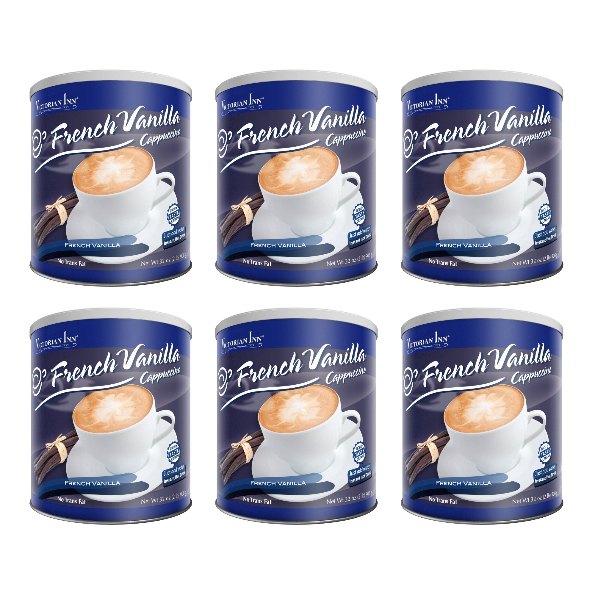 Victorian Inn Instant Cappuccino, French Vanilla, 32-Ounce Canisters (Pack of 6)