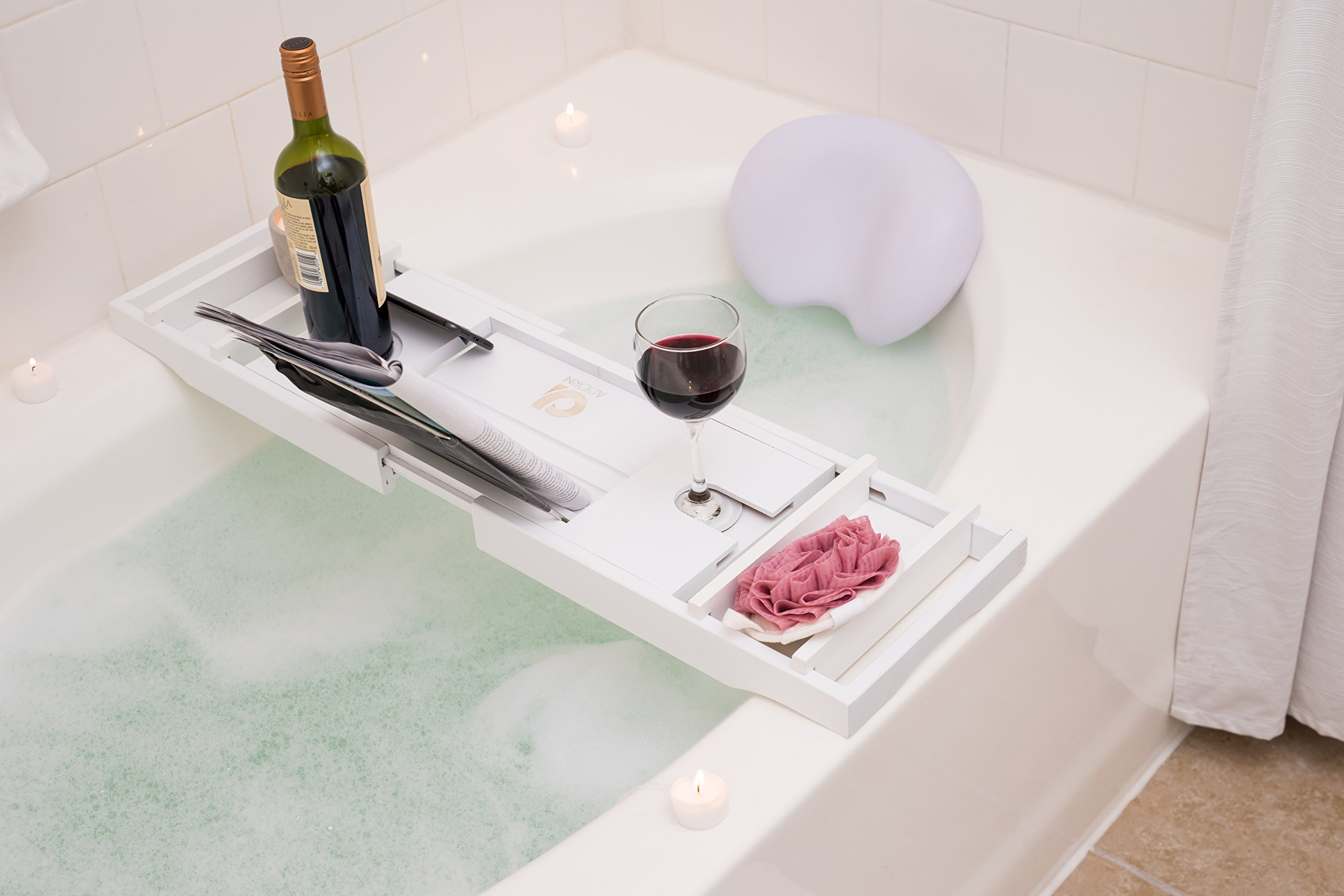 Adorn Home Essentials Bamboo Bathtub Caddy Tray with Wine and Cup Holder | Waterproof/Washable Bath Pillow with Suction Cup | One or Two Person Bath or Bed Adjustable Tray | Expands up to 43'' | White by Adorn Home Essentials (Image #3)