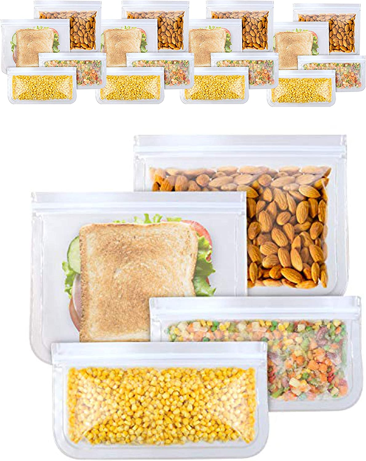 BBA SUNRISE | 15-Pack Reusable Storage Bags, BPA Food Grade Ziplock Bags, Leakproof and Fresh for Snacks, Fruits, Lunch, Sandwiches, Washable and Reusable, Eco-Friendly, Durable and Easy To Clean