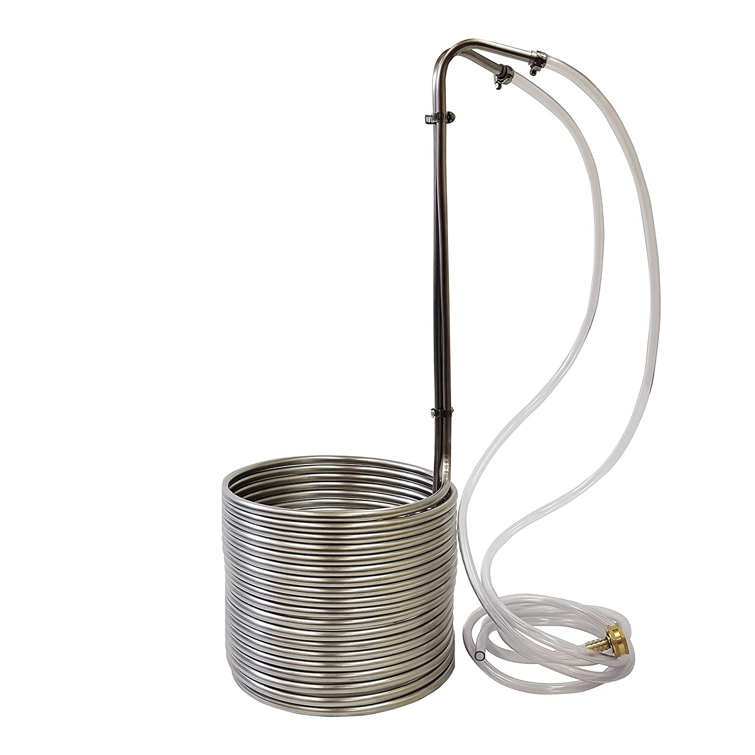 "NY Brew Supply Stainless Steel Wort Chiller, 3/8"" x 50', Silver"