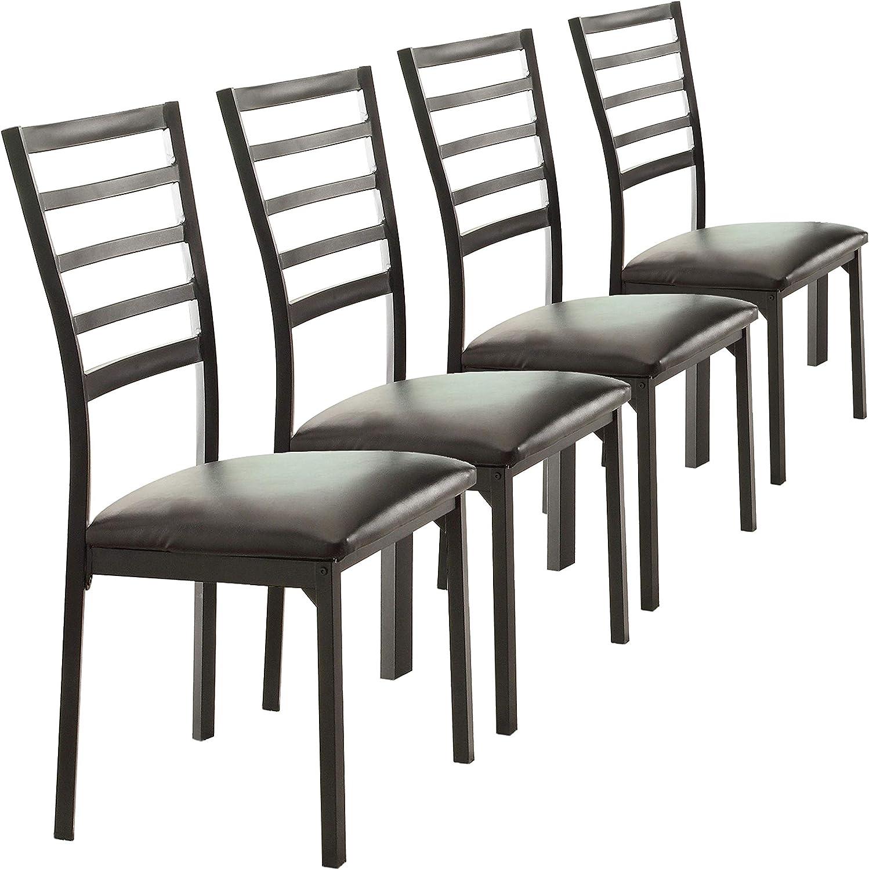 Homelegance Bi-Cast Vinyl Metal Frame Side Chair, Black, Set of 4