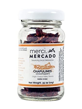 Chapulines (grasshoppers) - Gourmet edible insects from Oaxaca Mexico  (small jar) (Adobo) ( 35 oz)