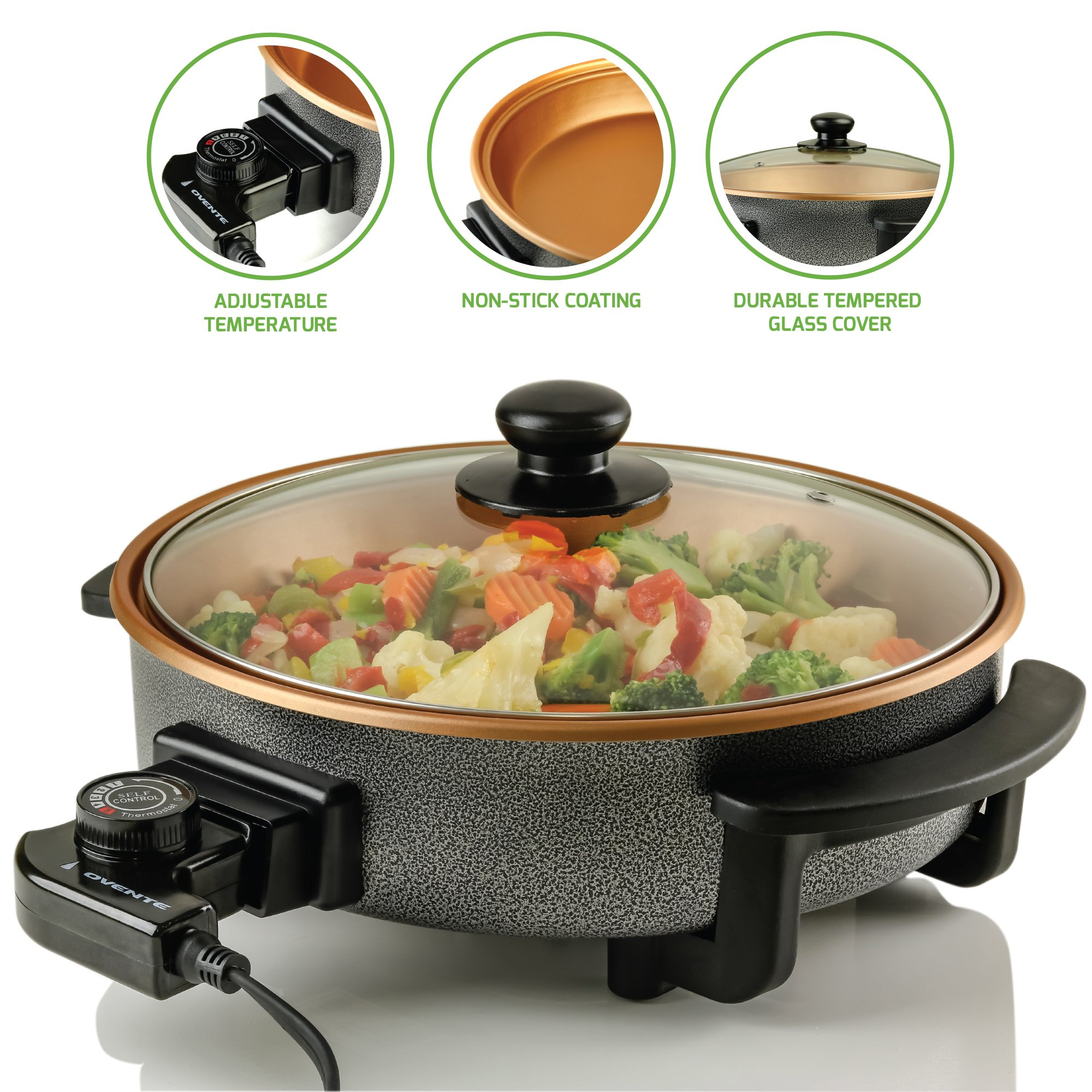 Ovente SK11112CO Electric Skillet with Non-Stick Aluminum Body, 12 Inch, 1400-Watts, Temperature Controller, Tempered Glass Cover, Cool-Touch Handles, Copper Interior