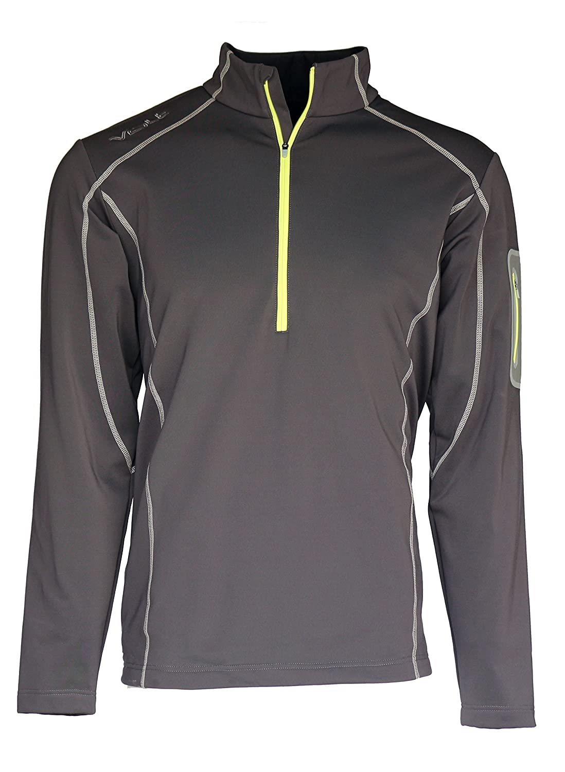 VOLT Men's 5V Heated Thermal Half-Zip Heated Jacket with Three Heat Settings, Cold Weather Clothing, USA Designed and Developed, Perfect for Winter Sports, Patented Zero-Layer Heat System Grey) 5V-THZ-MG-L