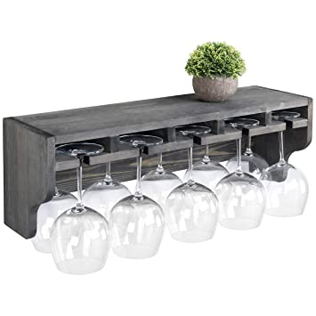 MyGift Vintage Grey Wood Wall Mounted Wine Bottle and Stemware Glass Rack