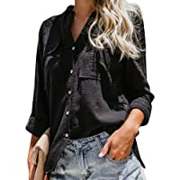 Runcati Womens Button Down V Neck T Shirts Roll up Long Sleeve Blouse Loose Fit Casual Work Plain Tops Pockets