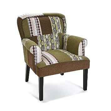 Versa 19501346 Sillón tapizado Boise, 89x71x72 cm, Verde, Marrón y Negro, Butaca