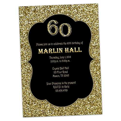 Amazon Com Milestone Black Gold Glitter Birthday Invitations Men