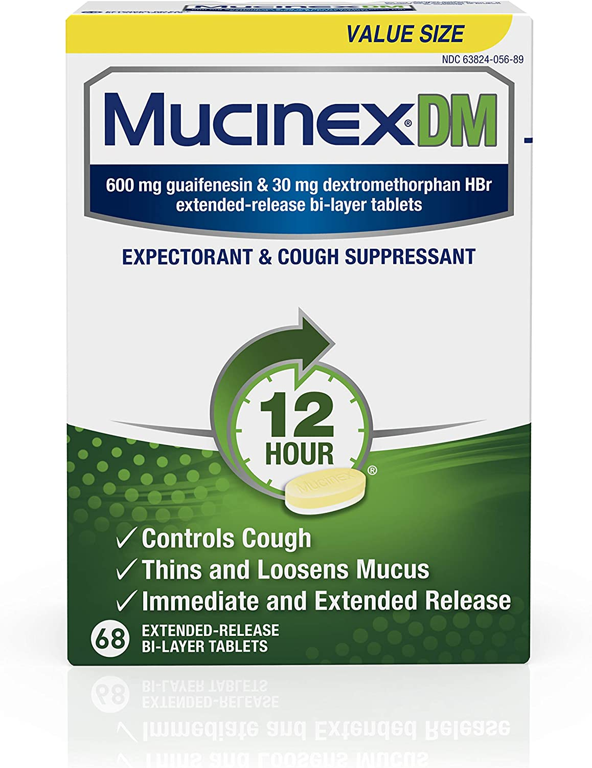 Mucinex DM Expectorant and Cough Suppressant 12-Hour Relief Tablets, 68ct, Contains 600 mg Guaifenesin & 30 mg Dextromethorphan HBr, Controls Cough & Thins & Loosens Mucus