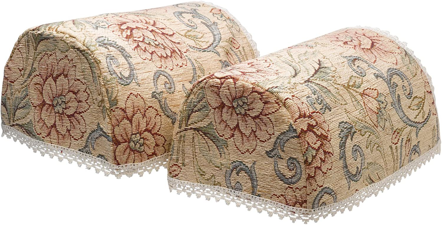 Classic Home Store Tapestry Style Pair of Round Arm Caps Lace Trim Pink Floral Sofa Furniture Cover Antimacassar (Beige)