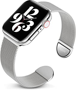 Metal Band Compatible with Apple Watch Bands 38mm 40mm 42mm 44mm, Magnetic Stainless Steel Mesh Adjustable Replacement Strap Compatible with iWatch Series 6 5 4 3 2 1 SE 38/40 (Patents Pending)