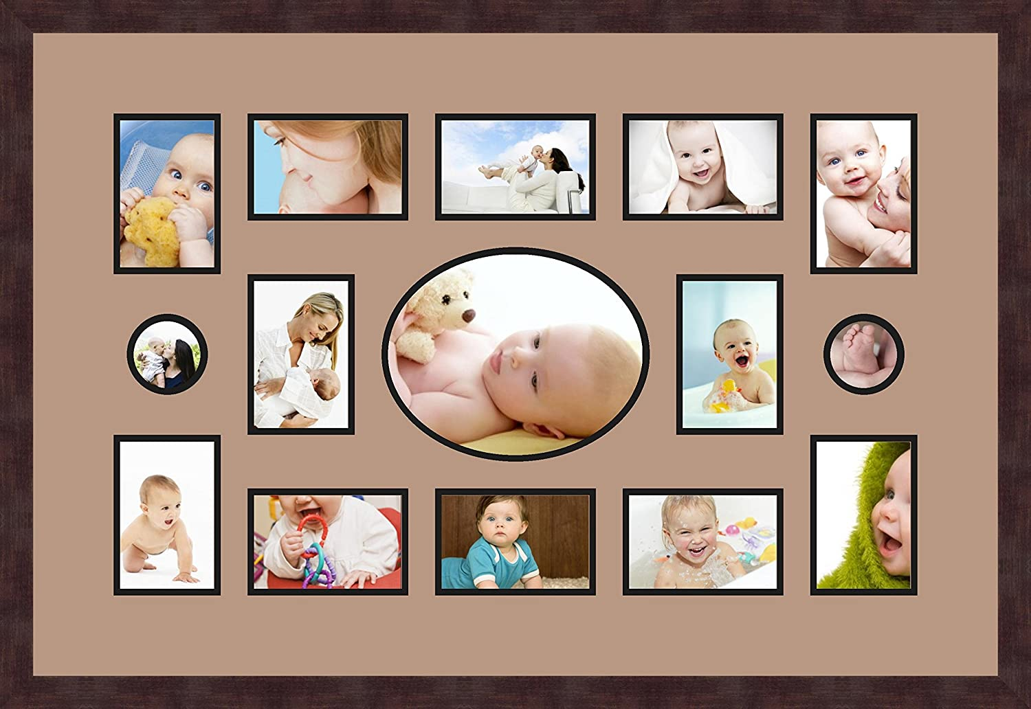 Art to Frames Double-Multimat-618-767//89-FRBW26061 Collage Frame Photo Mat Double Mat with 12-4x6 and 2-3x3 and 1-8x10 Openings and Espresso Frame