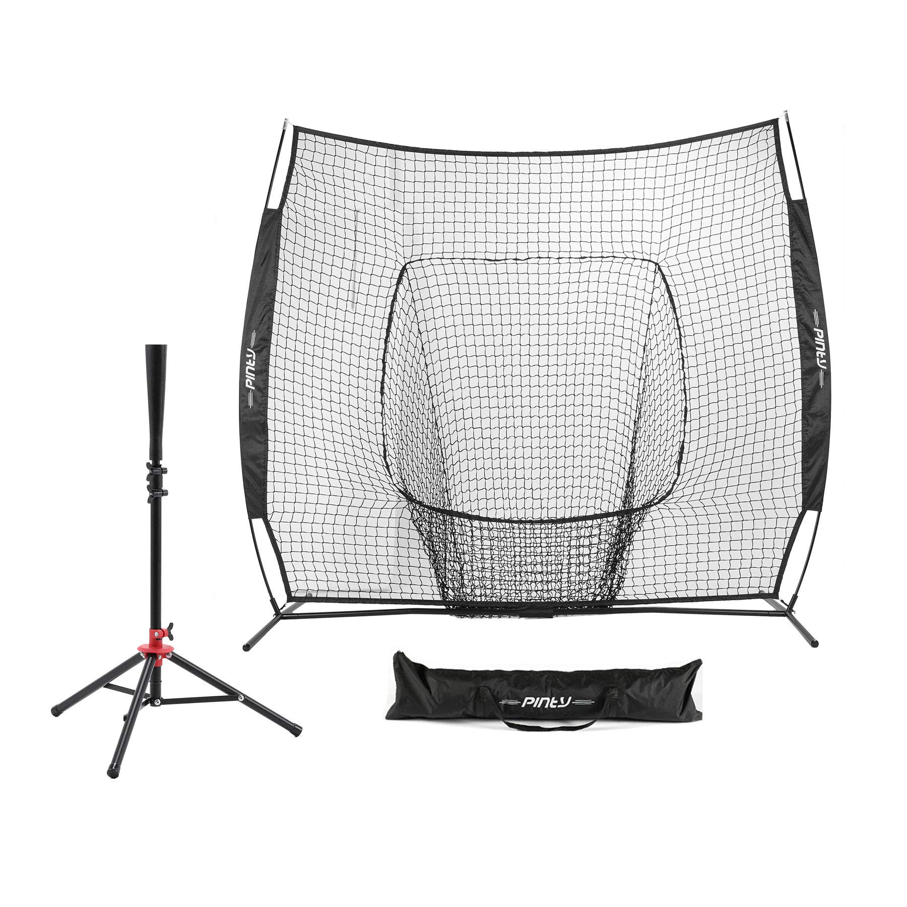 Pinty Baseball and Softball Practice Net 7'×7' Portable Hitting Batting Training Net with Carry Bag & Metal Frame + Baseball Softball Batting Tee (Baseball Net with Batting Tee) (Black) by Pinty