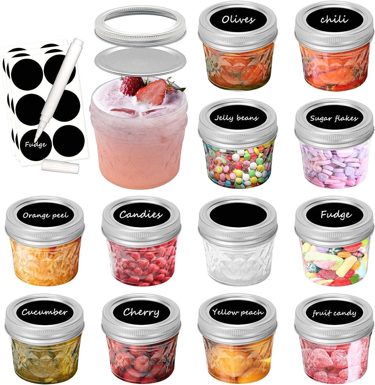 4 oz Mini Mason Jars with Lids(12 Packs) and 12 Pcs Color plastic Mason Jar Lids, Leak Proof & Anti-Scratch, for Food Storage, Jam, Body Butters, Jelly, Wedding Favors